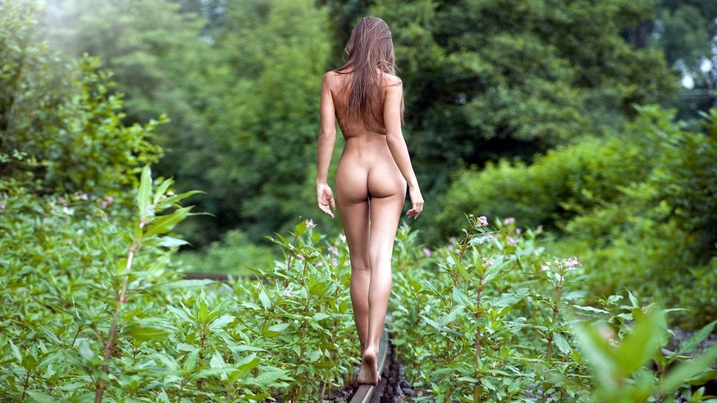 Ladies totally naked in nature