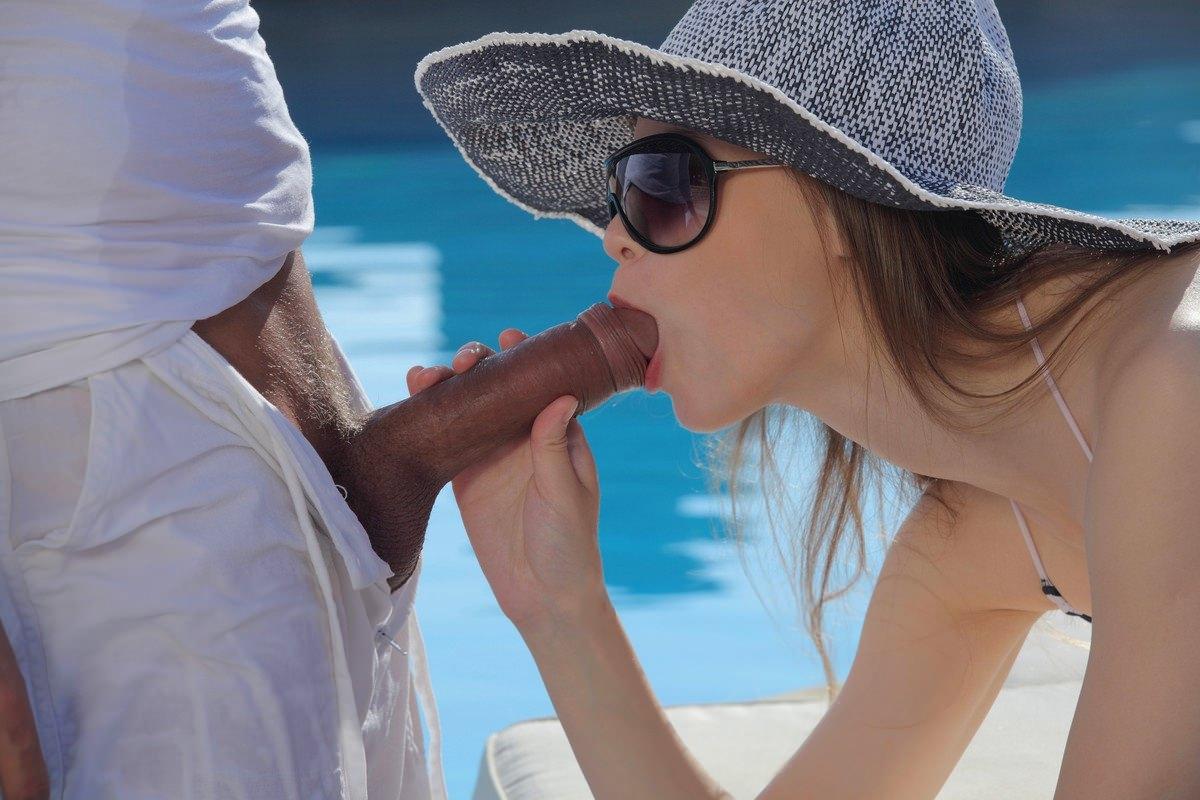 Hot Girl In A Blue Bikini Gives Blowjob To Bald Captain