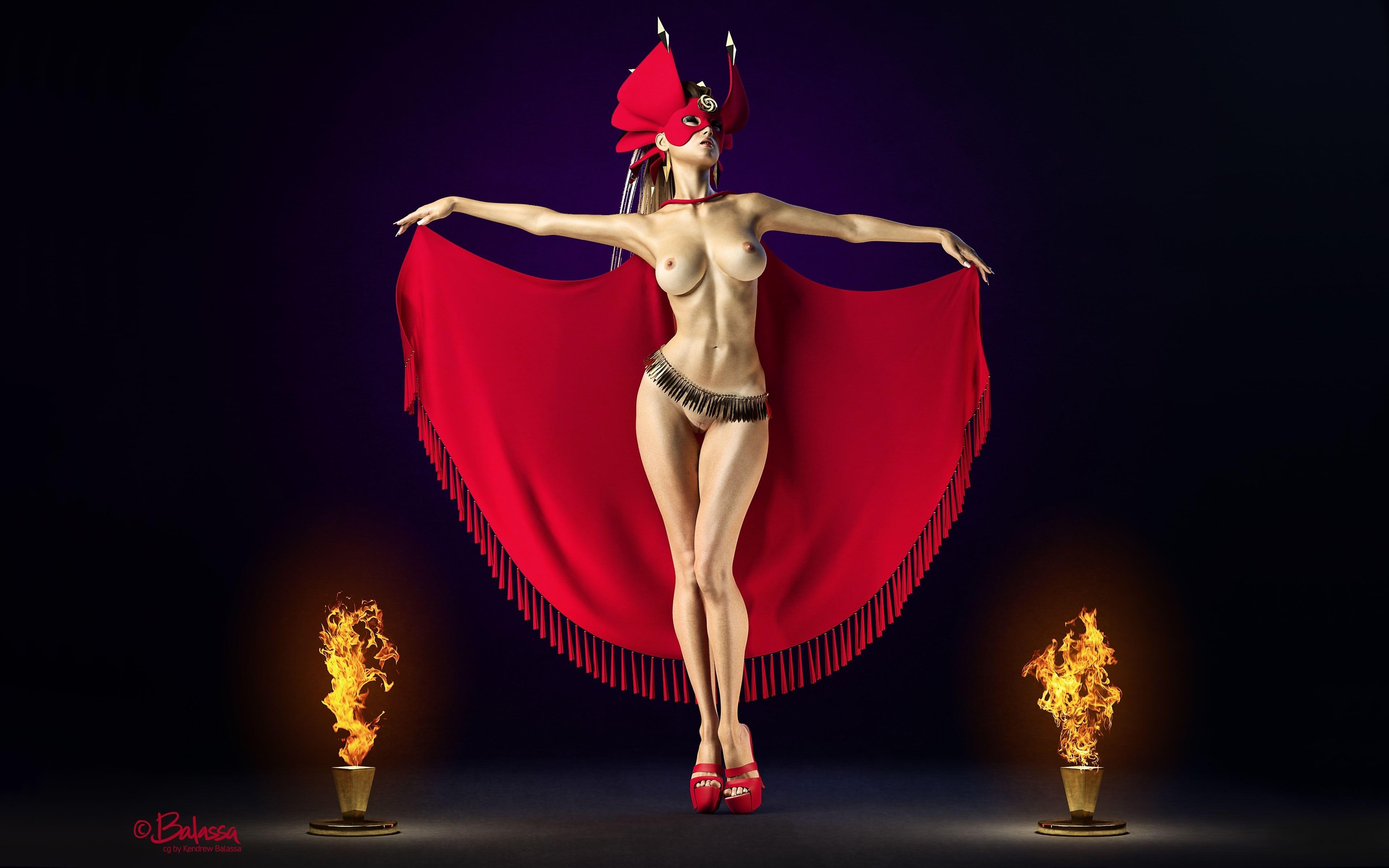 Фото Сексапильная девушка с обнаженными прелестями, красный плащ, маска, пламя, сексуальное тело, прекрасная талия, длинные сексуальные ножки, красивая грудь, бритая пися, скачать картинку бесплатно