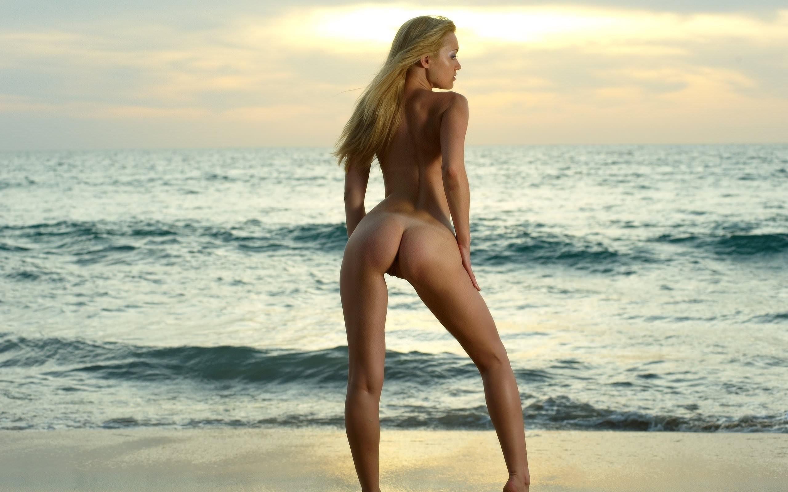 Фото Голая девушка эротично стоит на фоне бескрайнего моря, закат, пляж, атлетичные ножки, упругая попка. Naked blonde, dawn, beach, sea, long legs, elastic ass, back, скачать картинку бесплатно