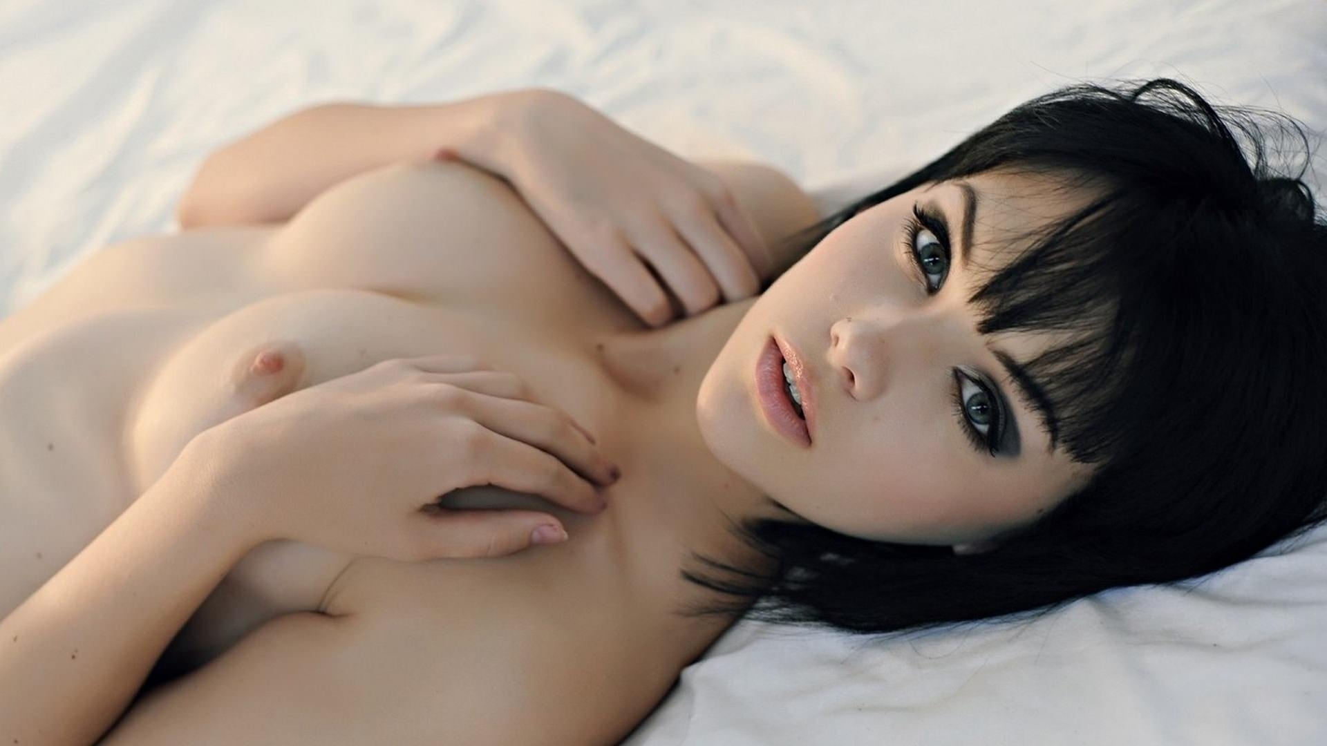 Stunning Pale Skin Brunette Teen Flashes Her Body Nude