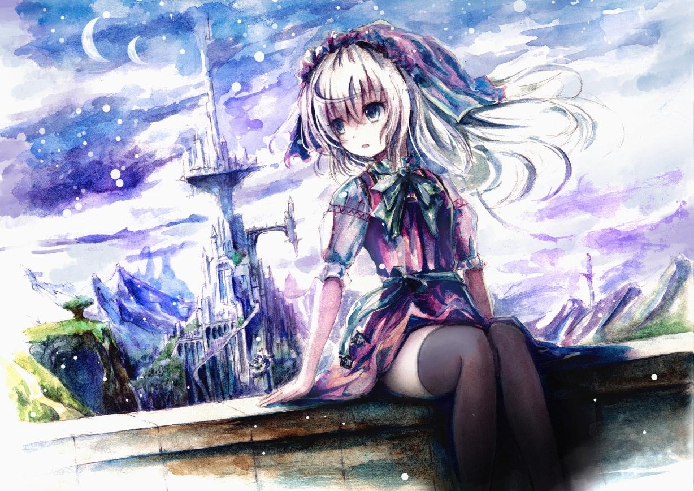 Фото Очаровательная девушка в волшебном царстве, замок, звезды, скачать картинку бесплатно