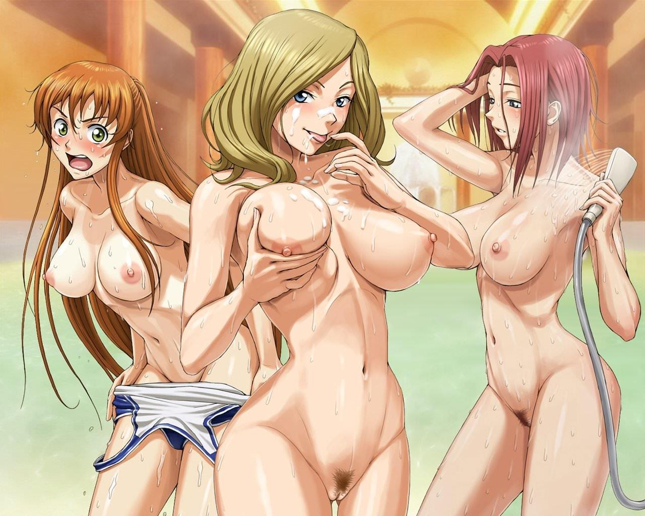 Фото Три сиськастые девушки в душевой, рыжая снимает купальник и орет, блондинка облиызвает сосок, сжимает сиську, скачать картинку бесплатно