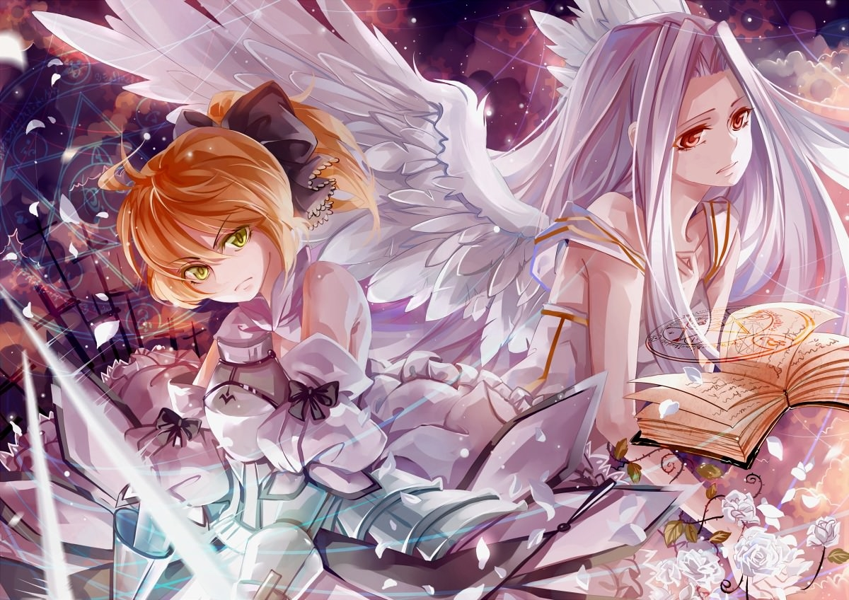 Фото Две девушки, ангелы, книги, волшебство, скачать картинку бесплатно
