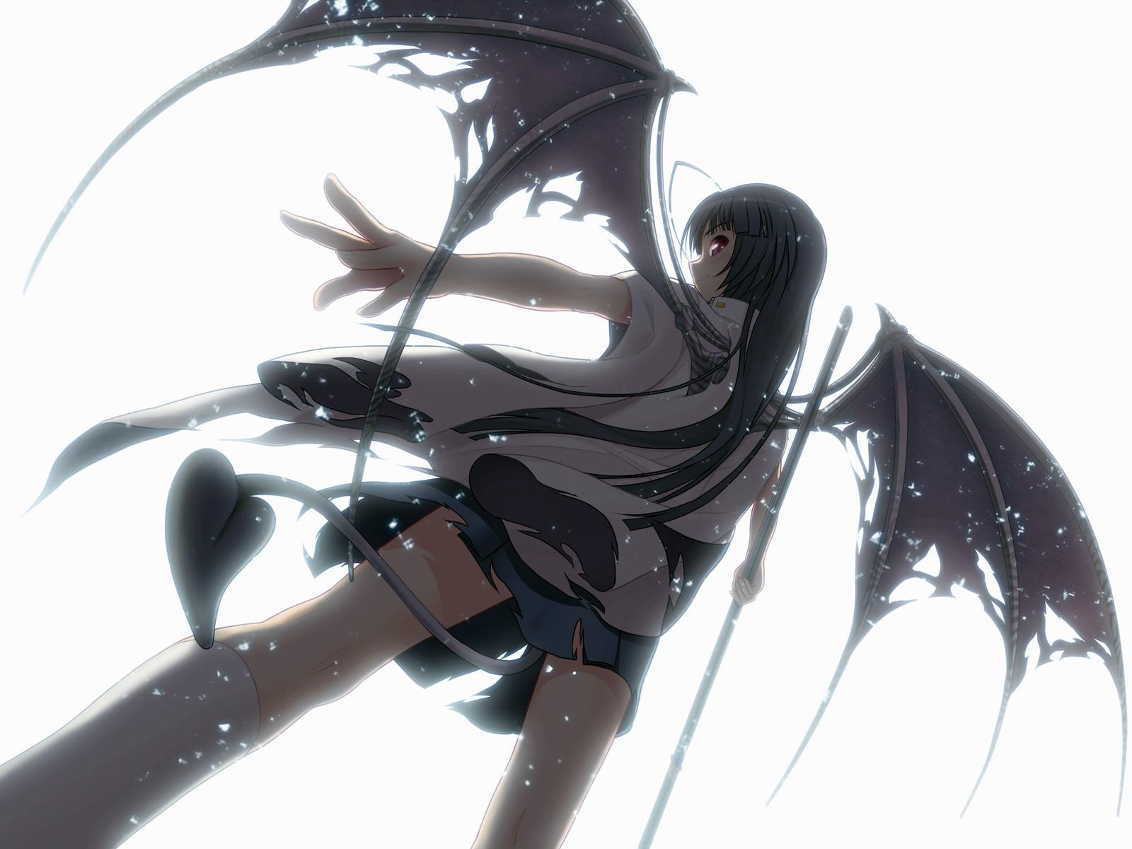 Фото Падший ангел, чертовка, демонические рваные крылья, хвост под юбкой, скачать картинку бесплатно