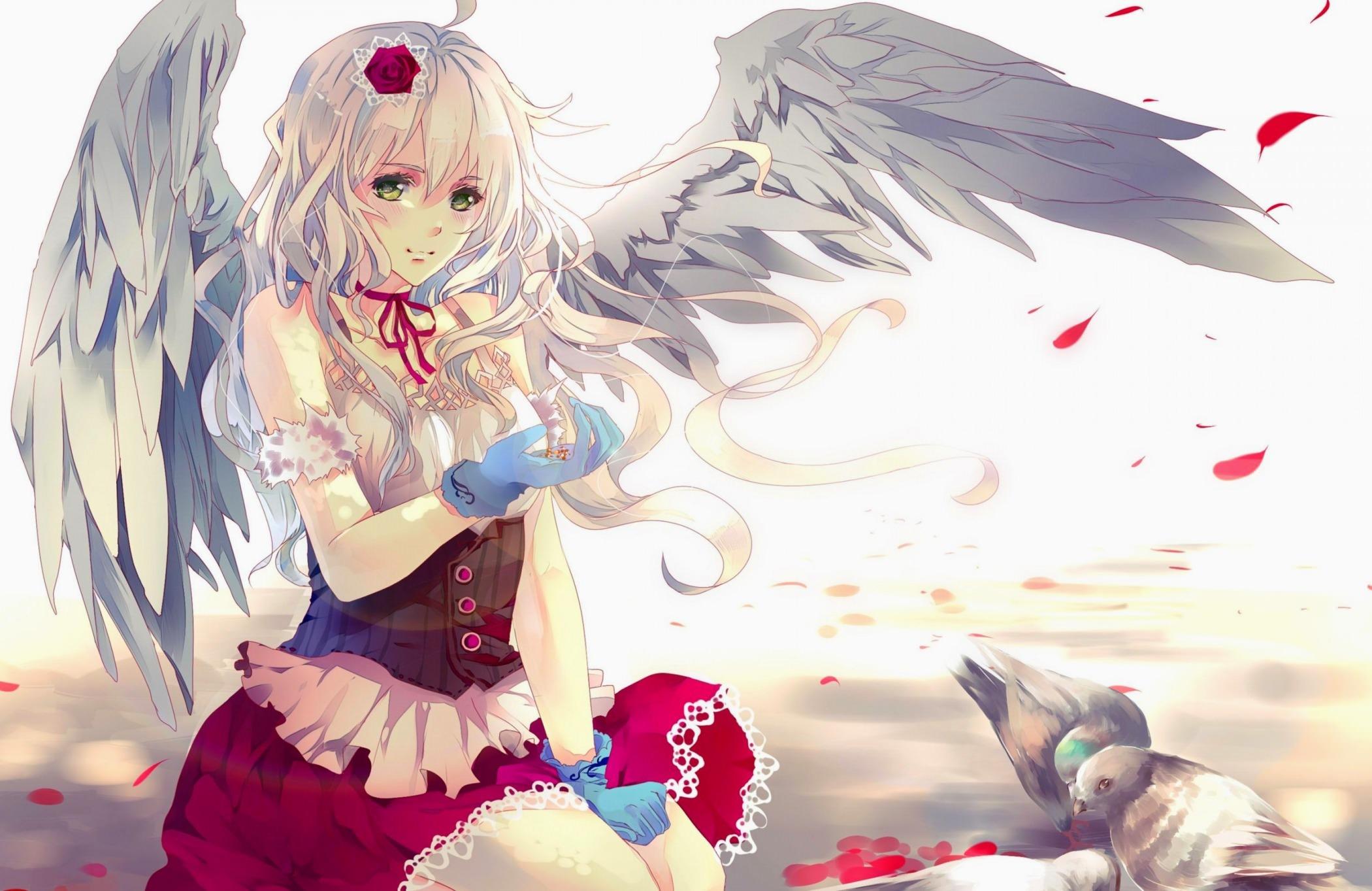 Фото Прекрасная девушка ангел, ангелочек, красная юбка, лепестки, белые крылья, скачать картинку бесплатно