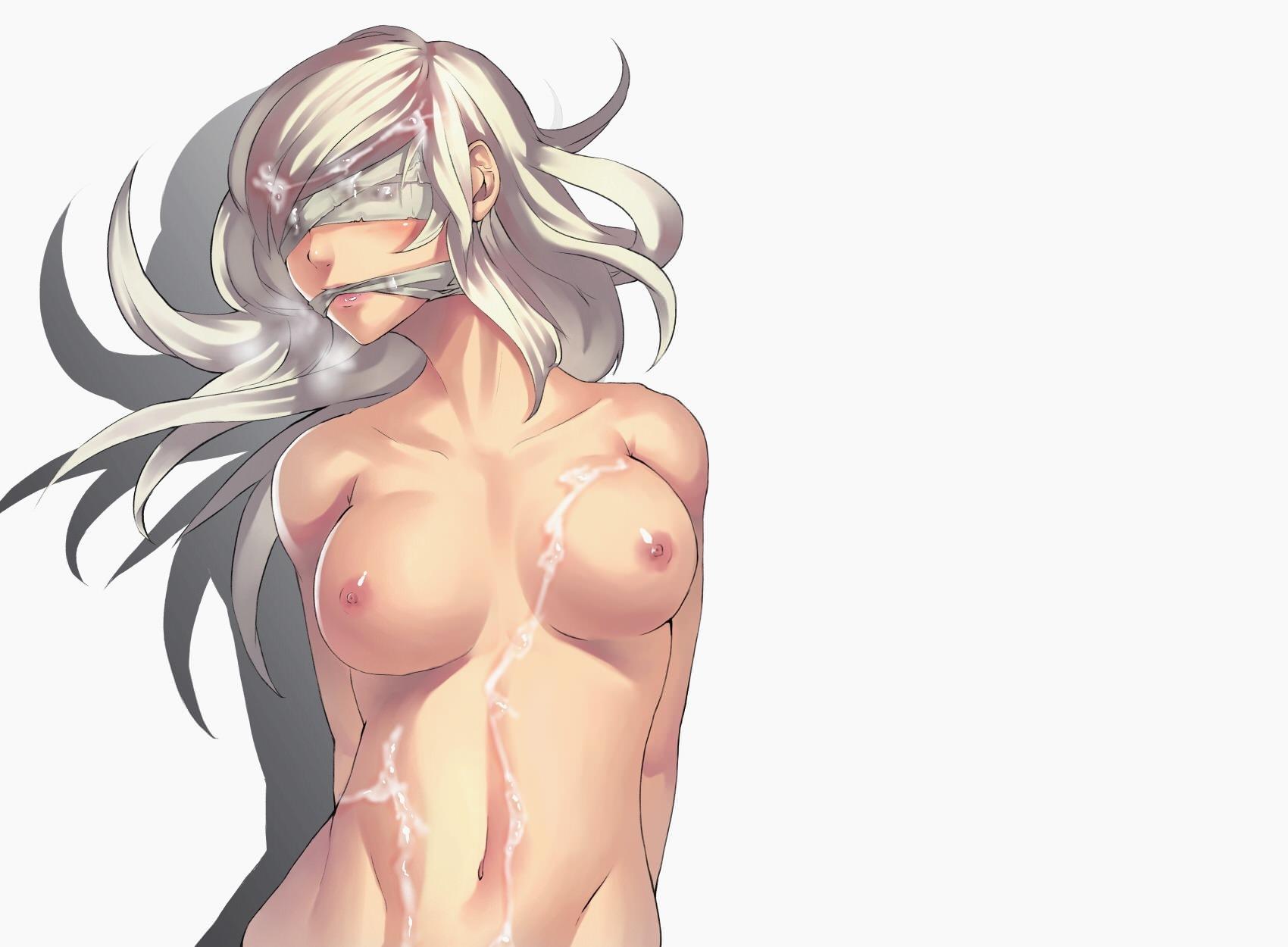 Фото Голая девушка, связанные глаза и рот, сперма на сиськах, скачать картинку бесплатно
