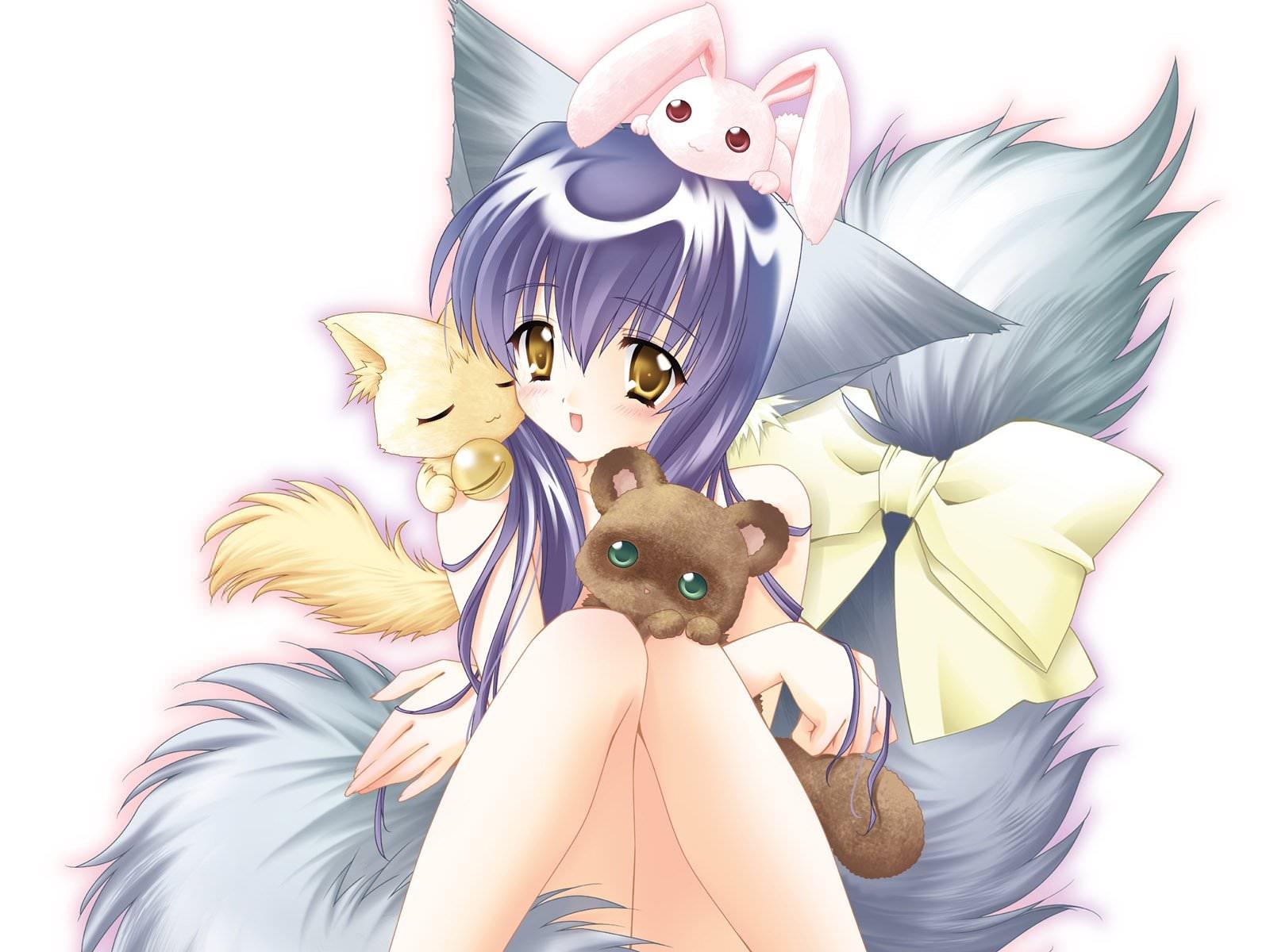 Фото Девушка с котятами, пушистый хвостик с бантиком, ушки, милашка, скачать картинку бесплатно