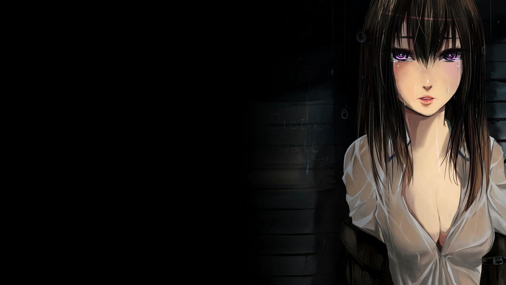 Фото Плачущая девушка в темноте, слезы, печаль, скачать картинку бесплатно