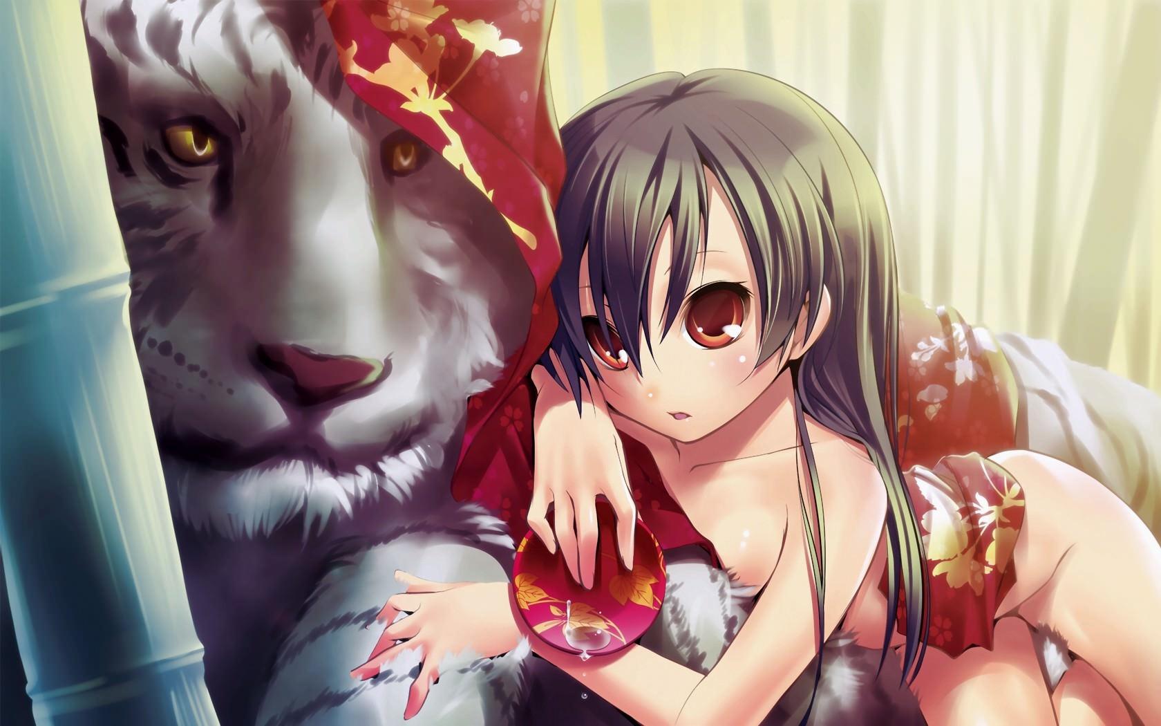 Фото Девчонка в красном кимоно и белый тигр, скачать картинку бесплатно