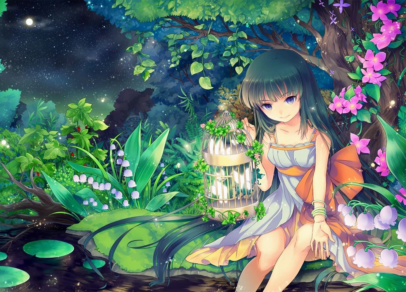 Фото Девушка в волшебном лесу, светящиеся бабочки в клетке, цветы, ночь, скачать картинку бесплатно
